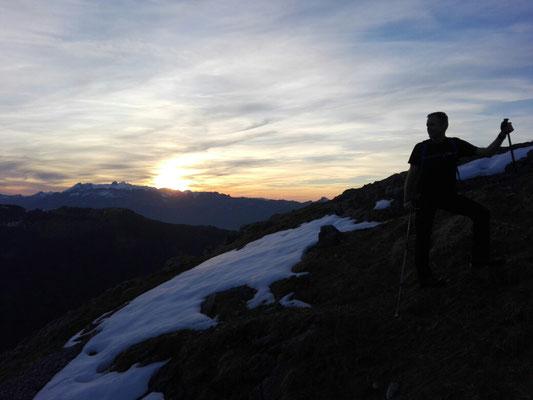 Gipelsturm bei Sonnenuntergang