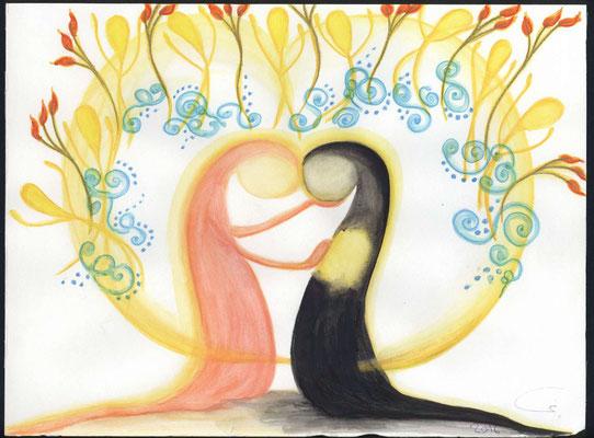"""Diakonie. Wahre Liebe und selbstlose Hilfe bringt den Himmel zum """"Toben"""" vor lauter Freude."""