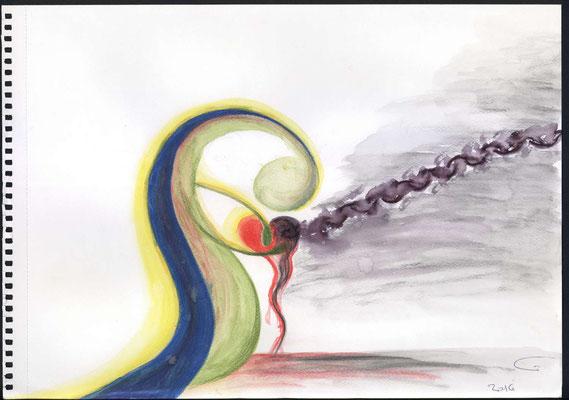 Ein von Sünde und Dämonen angekettetes Herz. Voller Liebe erbarmt sich Jesus über das verblutende Herz und beginnt es zu heilen.