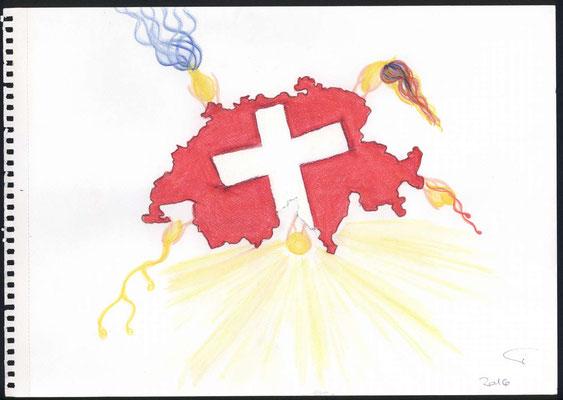 Vision über der Schweiz: Die Schweiz überreich an geistigen und materiellen Gaben, schütten wir grosszügig in alle Nationen aus, so wie uns der heilige Geist leitet.