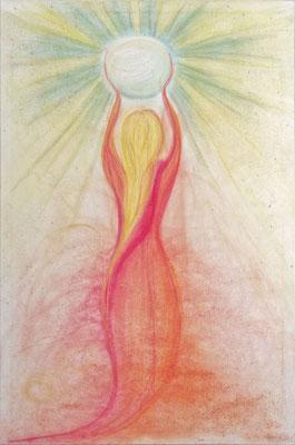 Das Himmels Kind. Das Diesseits löst sich auf und lebt im Jenseits= im Himmel ( Bei Gott dem Vater) weiter.