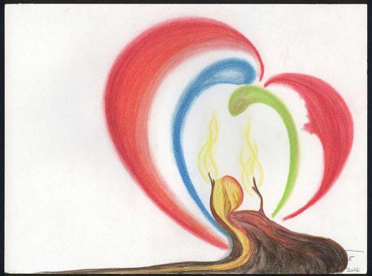 """Die unerlöste hoffnungslose Welt (als Mensch im Morast) schöpft Hoffnung, durch das rufen des Geistes und der Braut (blaues und grünes """"Wesen"""") Umgeben von der Liebe Gottes (rot). Wenn der Mensch sich Gottes """"liebes Werben"""" hingibt, die Erlösung (gelb)"""