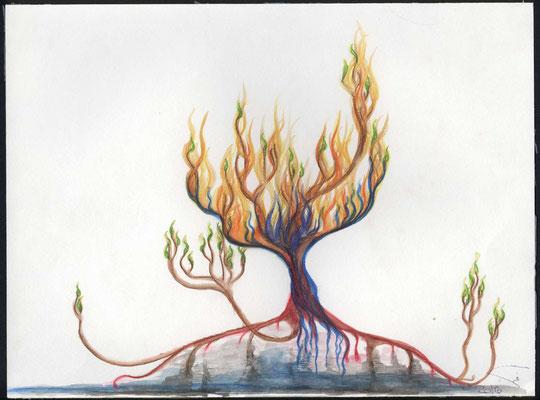 Ein Menschen Leben als Baum dargestellt. Das Alte ist vergangen, siehe durch Jesus Christus ist alles neu. Neues Leben wächst aus den gereinigten Wurzeln. Der Heilige Geist ist die Tragende Kraft, für das neu entstehende Leben.