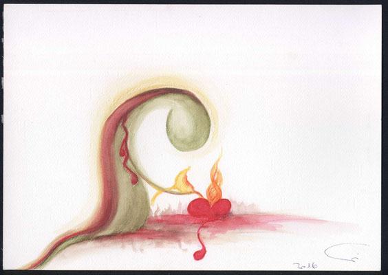 Jesus giesst Seinen Leidenskelch in ein verliebtes Ihm ganz hingegebenes Menschenherz hinein. Sein Feuer erfasst nun das Innerste dieses Menschen und lässt ihn in Seiner Kraft und Leidenschaft gehen.