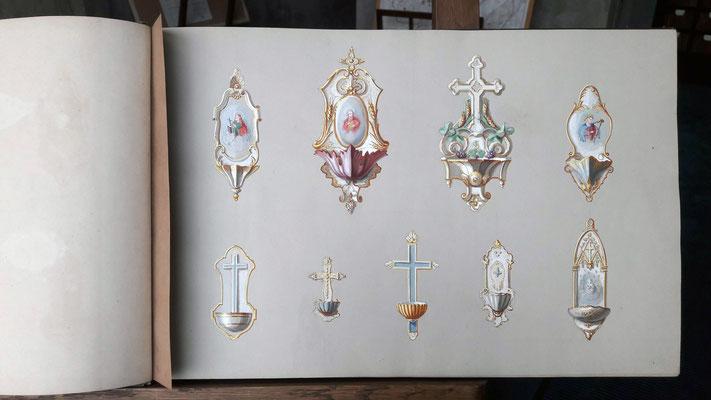 Bénitiers - catalogue des faïences Vieillard XIXè siècle