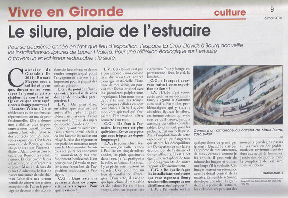 Article Courrier de Gironde du 6 mai 2016