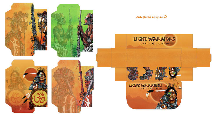 light warriors - custom rolling papers - ink, different colours & digital art