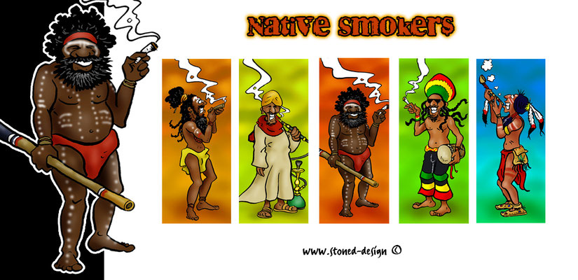 native smokers - tokai lighters - ink & digital art