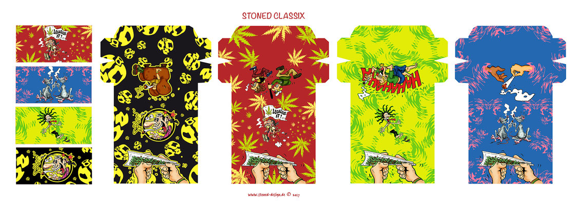 stoned classix - custom rolling papers - ink & digital art