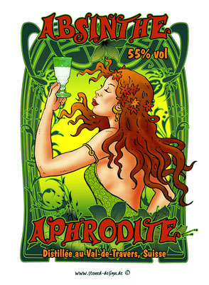 """aphrodite"" absinthe label - grüne fee CH - ink & digital art"