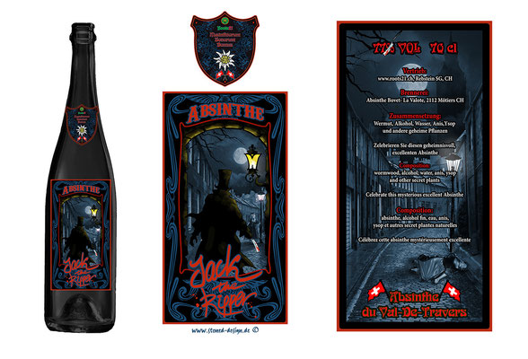 """jack the ripper"" absinthe label - roots21 CH - ink & digital art"