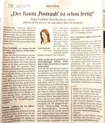 Schwäbische Zeitung vom 1. Juli 2017