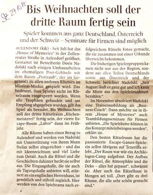 Schwäbische Zeitung vom 27. Oktober 2017