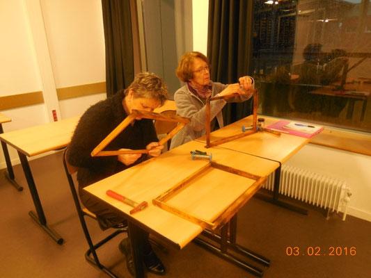 Montage du fil inox sur les cadres