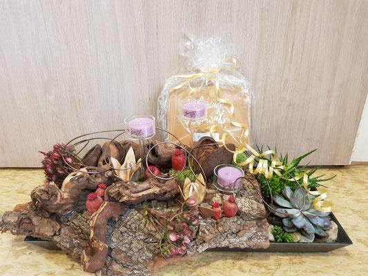 Nr. 1 Pflanzen Arrangement mit Kerzen (Duft - Boho Berry) ab 40€ im Verkauf erhältlich
