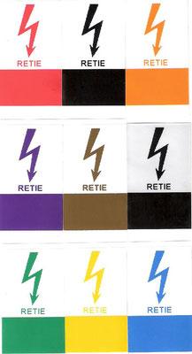 Etiquetas en poliester marcadas con los colores del RETIE