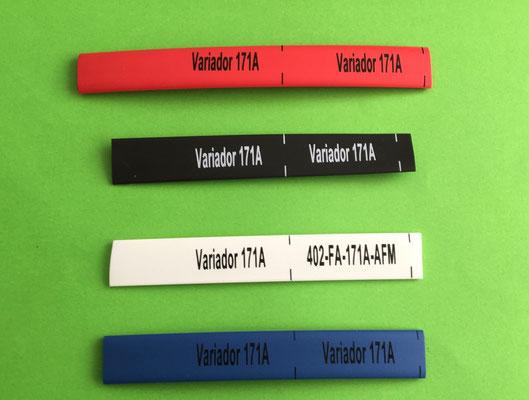 Marquillas termocontractiles TMC, formato continuo, de colores, marcadas.