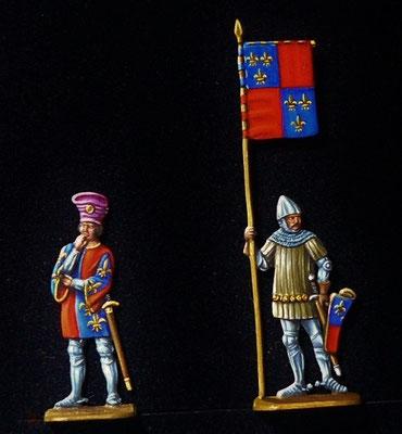 Charles d'Albret et son porte bannière à Azincourt  - 30mm - édition Mauro Benini- gravure Régina Sonntag