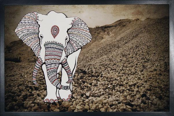 Once Upon a Time - La casa a vapore: 60x80; stampa hd su tela fotografica; disegno a china; ricamo a mano con filo di seta.