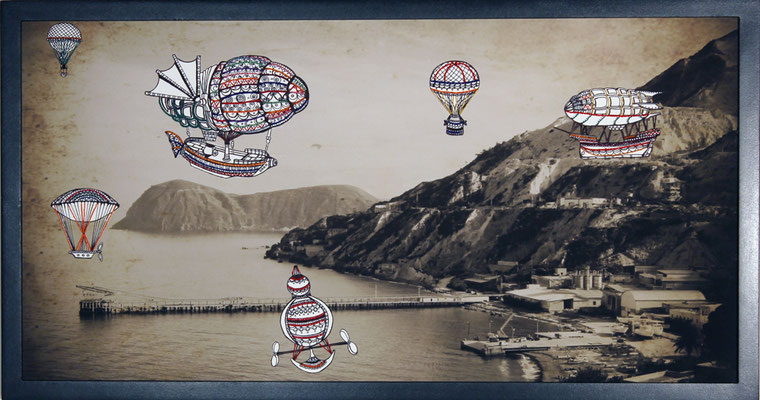 Once Upon a Time - Aeolian Freeport: 40x80; stampa hd su tela fotografica; disegno a china; ricamo a mano con filo di seta.