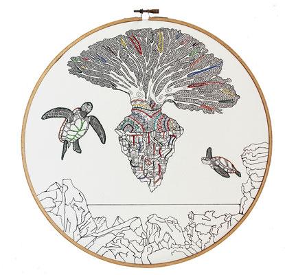30 cm; carta; disegno a china; ricamo a mano con filo di seta; telaio 2017/2018 (collezione privata)