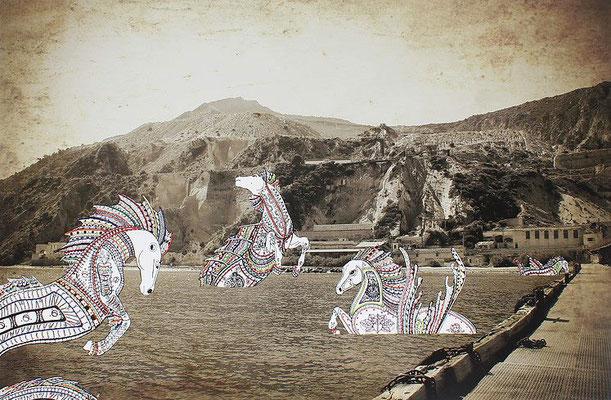 Once Upon a Time - La Danse de seduction: 65x100; stampa hd su tela fotografica; disegno a china; ricamo a mano con filo di seta.
