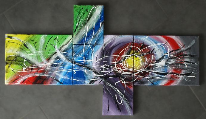 Acryl auf Leinwand - Bildcollage 120 x 50 cm - nach John Beckley