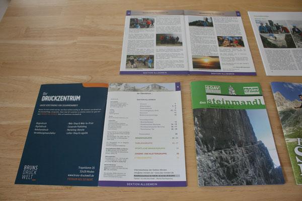 "Layout-Neugestaltung ""Das Steinmandl"" – Vereinsheft der DAV-Sektion Minden – links: alt, rechts: neu (copyright: Christian Seidlitz)"