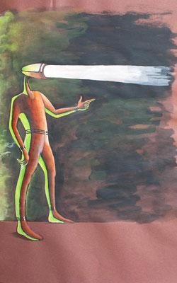 """""""Helles Köpfchen 02"""" – Bleistift, Kugelschreiber, Wasserfarben (copyright: Christian Seidlitz)"""