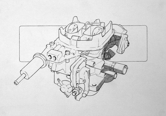"""Weber-Doppelvergaser"" – Bleistift (copyright: Christian Seidlitz)"