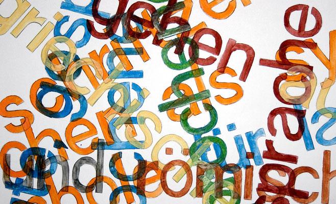 """""""Buchstabensalat"""" – Bleistift, Kugelschreiber, Aquarellfarben (copyright: Christian Seidlitz)"""