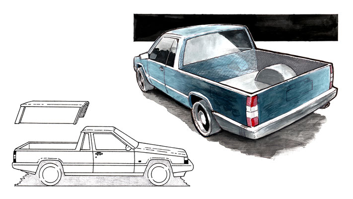 Volvo 940 Pick-up – Bleistift, Kugelschreiber, Fineliner, Aquarellfarben (copyright: Christian Seidlitz)