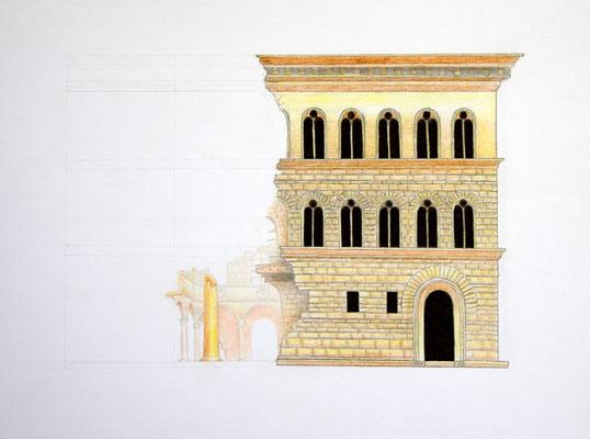 """Palazzo Medici Riccardi"" – Bleistift, Kugelschreiber, Aquarellstifte (copyright: Christian Seidlitz)"