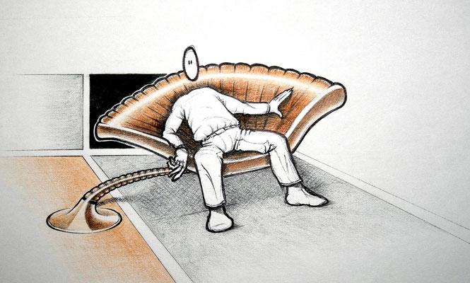 """""""Chefsessel"""" – Bleistift, Kugelschreiber, Aquarellstifte (copyright: Christian Seidlitz)"""