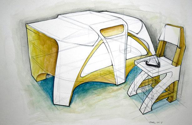 """Möbel"" – Bleistift, Kugelschreiber, Wasserfarben (copyright: Christian Seidlitz)"