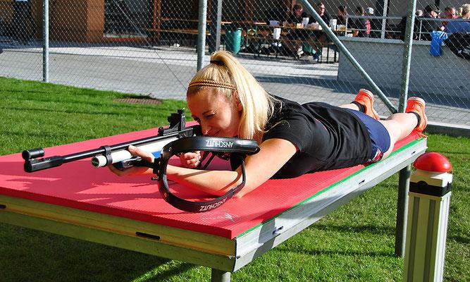 Biathlonsimulator, Biathlon-Simulator, Podest für das Liegend Schießen