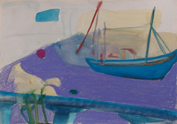 Fischerboot 2004; Ölkreiden auf Papier
