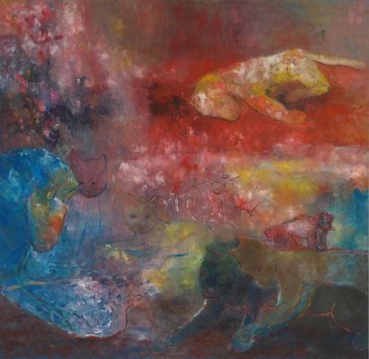 o.T. 2013; 160 x 155 cm Öl auf Nessel
