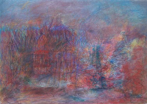 das feuerrote Haus 2015; 32 x 29 cm Buntstifte, Kreiden auf Papier