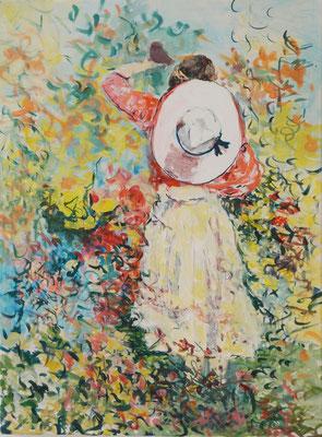 Mädchen mit Hut 2015; Acryl auf Nessel, 60 x 80 cm