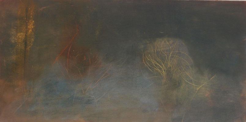 Goldenes Geäst 2015; Öl auf Kreidepaneel 40 x 20 cm