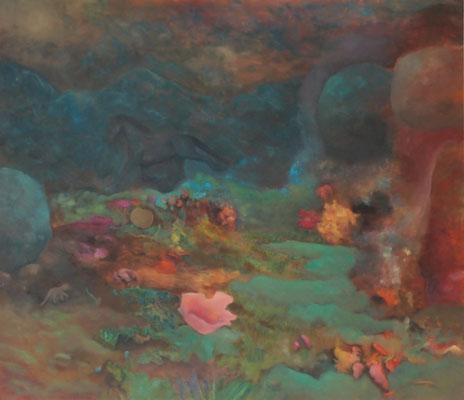 Nebeltal 2013; 155 x 130 cm Öl auf Nessel