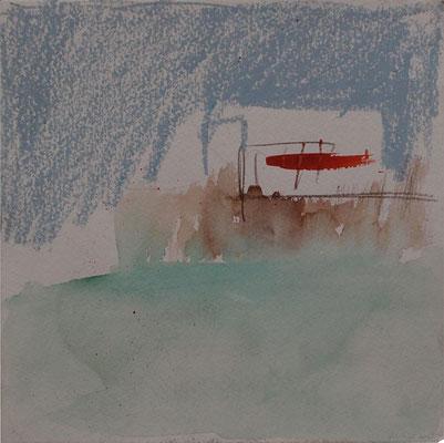 Landschaft 2004; Aquarell, Kreiden auf Papier