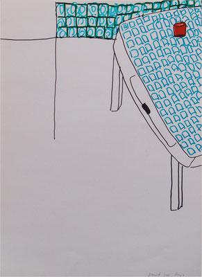 Küchentisch 2005; Filzstift auf Papier