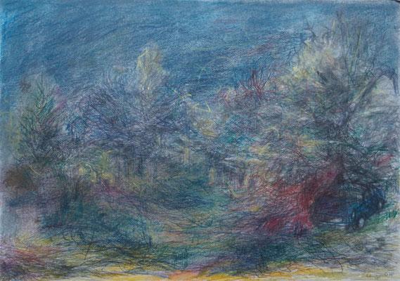 blauer Skoda 2014; 32 x 29 cm Buntstifte, Kreiden auf Papier
