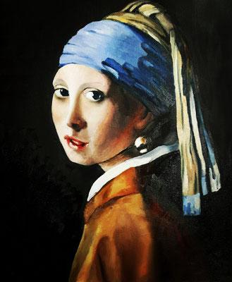 Mädchen mit Perlenohrring nach Vermeer (2), Öl auf Leinwand, 40x50, 40x50