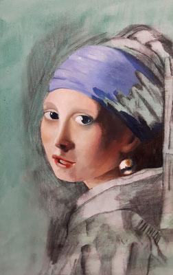 Mädchen mit Perlenohrring nach Vermeer (1), Öl auf Leinwand, 40x50