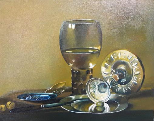 Stilleben nach Pieter Claesz, Öl auf Leinwand, 40x50