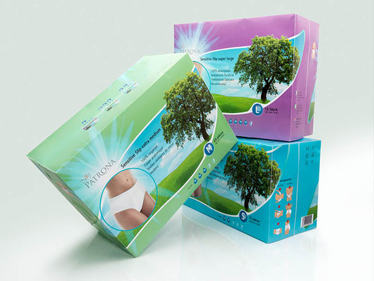 Daily Patrona Sensitive Slip — Verpackungsgestaltung der Slip-Produktlinien