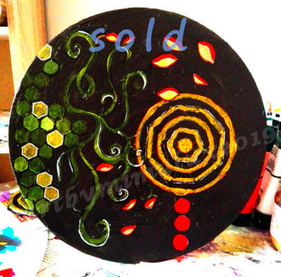 Go with the Flow 3 - 30 cm in diameter, acrylics SOLD !